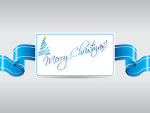 Blue ribbon with christmas card Stock Images
