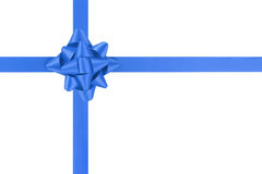 Blue ribbon cross with gift bow isolated on white Stock Photos