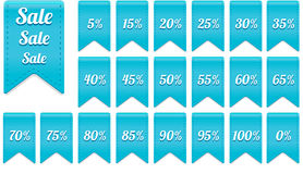 Blue ribbon discount label elements set Stock Images
