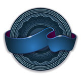 Blue ribbon emblem. Round emblem design with blue ribbon light effect Royalty Free Stock Photo