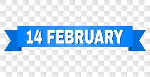 Blue Ribbon with 14 FEBRUARY Caption. 14 FEBRUARY text on a ribbon. Designed with white caption and blue tape. Vector banner with 14 FEBRUARY tag on a royalty free illustration
