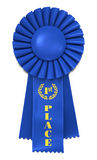 Blue Ribbon for First Place. Blue Ribbon Award with First Place printed in gold. Includes pro clipping path Royalty Free Stock Photo