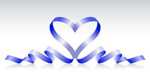 Blue ribbon in the form of heart Royalty Free Stock Photos