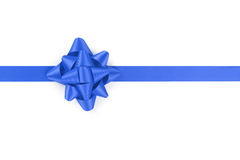 Blue ribbon with gift bow isolated on white Stock Photography