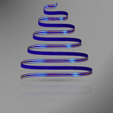 Blue ribbon with gold lines in shape of abstract christmas tree. Royalty Free Stock Photography
