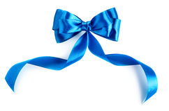 Blue ribbon. Hand made bow. Blue ribbon isolated on white background royalty free stock photo