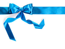 Blue ribbon. Hand made bow. Blue ribbon isolated on white background stock photography