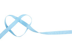Blue ribbon in heart shape isolated Royalty Free Stock Images