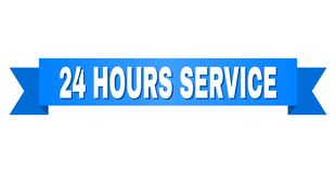 Blue Ribbon with 24 HOURS SERVICE Title. 24 HOURS SERVICE text on a ribbon. Designed with white caption and blue stripe. Vector banner with 24 HOURS SERVICE tag Royalty Free Stock Photo