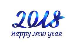 Blue ribbon inscription Happy New Year 2018. Blue ribbon number 2018 and inscription Happy new year on white background. Vector illustration stock illustration