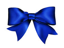 Blue ribbon knotted bow. Airbrush illustration handmade Royalty Free Stock Images