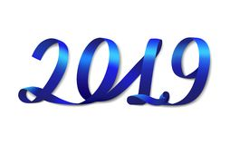 Blue ribbon number 2019. New year. vector illustration