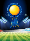 Blue ribbon over the football field. Illustration Stock Image