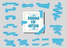 Blue Ribbon para el cuaderno Estilo hecho a mano Ilustración del vector Fotos de archivo libres de regalías