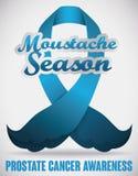 Blue Ribbon para la estación y la campaña de concienciación del cáncer de próstata, ejemplo del bigote del vector Fotografía de archivo