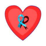 Blue ribbon pinned on a red heart Royalty Free Stock Photography