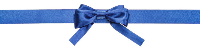 Blue ribbon and real bow with square cut ends Stock Photo