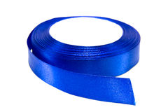 Blue ribbon. Roll on a white background royalty free stock photos