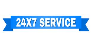 Blue Ribbon with 24X7 SERVICE Caption. 24X7 SERVICE text on a ribbon. Designed with white caption and blue stripe. Vector banner with 24X7 SERVICE tag Stock Photography