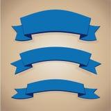Blue ribbon set Stock Images