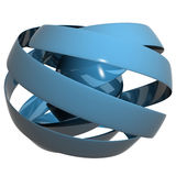 Blue ribbon sphere. 3d render of a ribbon made sphere with reflective material Royalty Free Stock Photos