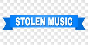 Blue Ribbon with STOLEN MUSIC Title. STOLEN MUSIC text on a ribbon. Designed with white title and blue stripe. Vector banner with STOLEN MUSIC tag on a stock illustration
