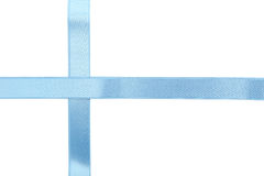 Blue ribbon on white background. Royalty Free Stock Photo