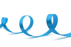Blue ribbon on white Royalty Free Stock Photography