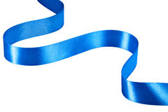 Blue ribbon. On white background. Clipping Path stock photos