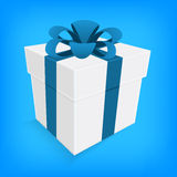 Blue ribbon and white gift box  Stock Photos
