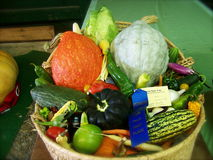 Blue Ribbon winner. A basket full of vegetables has won the state fair blue ribbon Royalty Free Stock Images