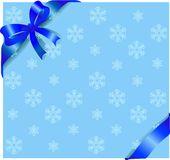 Blue ribbon on winter background Royalty Free Stock Images