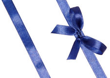 Blue ribbons arranged obliquely with bow Royalty Free Stock Photography