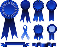 Blue ribbons award Stock Image