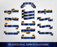 Blue Ribbons and Banners. Collection of Ribbons and Banners vector illustration Stock Photo