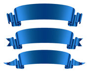 Blue ribbons banners set. Flat  on on the white background vector illustration Stock Image