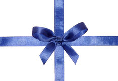 Blue ribbons with bow Stock Images