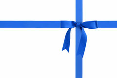 Blue ribbons with bow with tails isolated on white Stock Photo