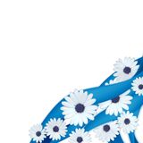 Blue ribbons and daisies. Isolated on white background Stock Images