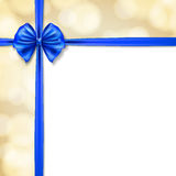 Blue ribbons. Decorative background with blue ribbons and bow with square frame. vector Stock Illustration