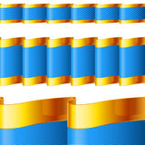 Blue ribbons with gold edging Stock Images