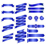 Blue Ribbons Isolated On whte Background, Vector illustration, Graphic Design Useful For Your Design or banners for your text. Log Stock Images