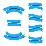 Blue ribbons set with gradient mesh illustration royalty free illustration