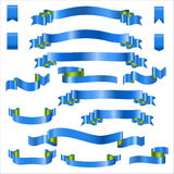Blue Ribbons Set With Gradient, Vector Illustration Royalty Free Stock Images