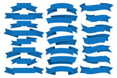 Blue ribbons set Stock Images