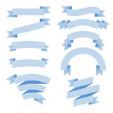 Blue ribbons set. Vector elements for design Royalty Free Stock Images