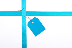 Blue ribbons with tag Stock Photos