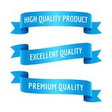 Blue ribbons with text set. Set of decorative banners with text. Blue ribbons, vector illustration Royalty Free Illustration