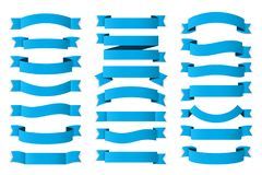 Blue Ribbons. 21 Blue ribbons on white background, horizontal banners set Vector Illustration