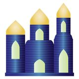 Blue Rich Building with Golden Roofs.  Royalty Free Stock Photo
